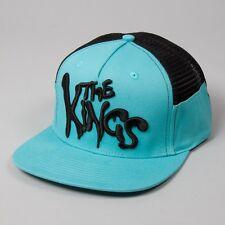 King Warriors Cyan Blue Black Mesh Trucker Flat Peak Snapback Hat Cap