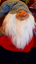 Large Scandinavian Smiling Nisse Gnome in Gray Hat, NEW