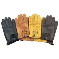 Top quality real soft leather men's driving gloves fashion retro design  7011