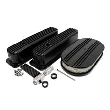 Small Block Chevy 350 Retro Finned Black Coated Vortec Valve Covers Air Cleaner