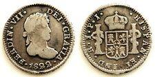 Spain-Fernando VII. 1/2 Real. 1822. Potosi. MBC/VF Plata 1,6 g. Escasa