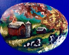 Farm Scene Hand Painted on Rock - Artist Kathy Norman - Free Shipping