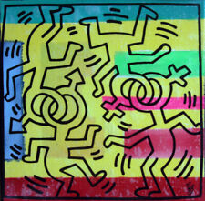 coupling keith haring PyB signed tableau pop street art graffiti french painting