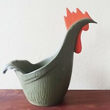 Vintage Cast Iron Rooster Planter Emig 1367 Olive Green & Orange Retro Container