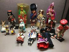 Lot of 16 International Dolls Figurines Many Broken Corn Husk Asian Middle East