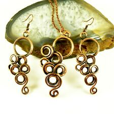 Handmade Antiqued Copper Wire Wrapped Set Artisan Handcrafted Jewelry