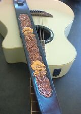 Hand made Carved Leather Guitar Strap Skull and Roses for Acoustic or Electric