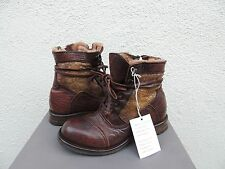 UGG COLLECTION CALVINA DARK BROWN LEATHER/ SHEARLING BOOTS, US 6/ EUR 37 ~NIB