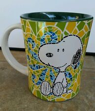 NEW LARGE SNOOPY MOSAIC TILE MUG PEANUTS CUP BY GIBSON GREEN YELLOW BLUE 15 OZ