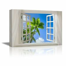 "Canvas - Glimpse into Blue Sky with Palm Trees out of Open Window - 24"" x 36"""