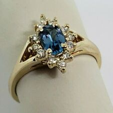14k Yellow Gold Blue Topaz And Diamond Halo Ring Size 6