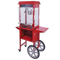 Retro Popcornmaschine Popcorn Maker Popcornautomat Partyservice mit Wagen Rot