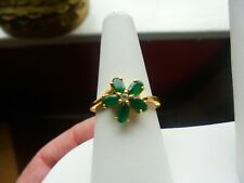 diamond vsi and emerald ring solid silver 18ct gold overlay