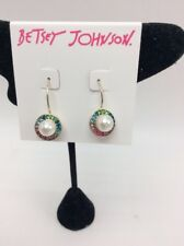 Betsey Johnson Imitation Pearl & Rainbow Crystal Halo Drop Earrings M60