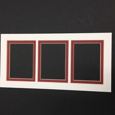 Picture Frame Mat 5x10 for aceo or sports cards 3 rectangle Ivory and rust
