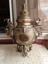 Very very Old large Chinese Temple Incemse Burner Elephants plus Jade 26""