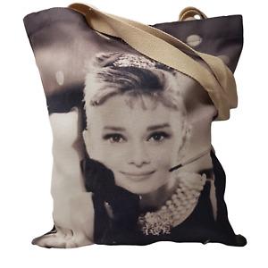Shopper Tote Bag Canvas Icon Stars Elvis Presley Audrey Hepburn Marilyn Monroe