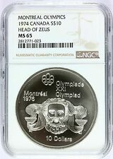 1974 Canada Montreal Olympics Head of Zeus Silver $10 Coin - NGC MS 65 - KM# 93