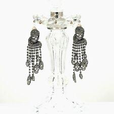 Rings`Ears CLIP ON Silver skull Tassel Fringe Crystal Grey AS1