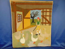 """Handcrafted tapestry wall hanging Geese in the Garden 12"""" x 14"""" contemporary art"""