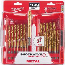 "29pc 1/16""~1/2"" Impact Duty Titanium Drill Bit Set Milwaukee 48-89-4632 New"
