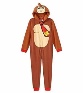 Donkey Kong Boy's Hooded Fleece Costume Pajama Sleeper