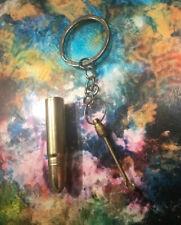 Bullet Shaped Keychain Key Ring Hidden Compartment Snuf Spoon Secret Storage