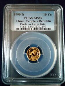 1990 PCGS China People's Republic Gold Panda MS69, 10 Yuan | Au Large Date