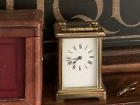 Lovely Antique French Carriage Clock With Leather Case And Key