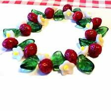 Strawberry Blossom Mix Fruit, Flower and Leaf Glass Beads