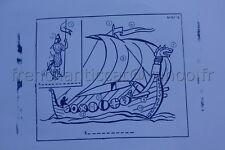 C239 Ancien tampon scolaire metal bateau drakkar Vicking histoire 19*14 cm