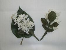 "1 White Lilac Bouquet Artificial Silk Flower 5.5"" Bouquet Head Hair Clip Craft"