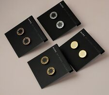 Marc Jacobs 'Classic Marc' Enamel Logo Disc rose gold Black stud Earrings