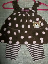 """Carters"" 2 Piece Outfit, Jumper with Leggings,Brown and Pink,Polka Dots,Stripes"