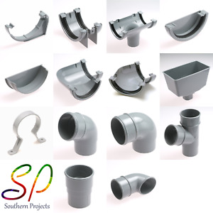 Grey Half Round Gutter Fittings and Downpipe Fittings uPVC