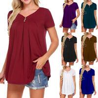 Summer Womens Short Sleeve Loose Casual Blouse Basic Tunic Top T-Shirt V-neck