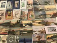 Lot of 45 ~WATER SCENES~LANDSCAPES~SHIPS~Vintage 1900's Postcards-a166