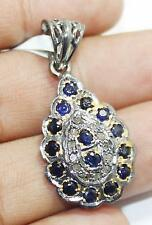 Silver Diamond Blue Sapphire Pendant Handmade Antique Victorian 925 Sterling