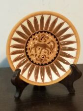 Vintage Rhodes Greece Terra Cotta Plate by Bonis Pottery with Deer, Tile & Stand