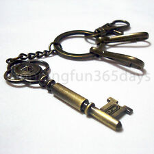 Key Shape Vintage Brass Color Metal Keychain Keyring Best Collectible