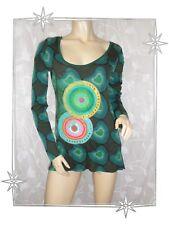 B - Haut T-shirt Long Vert Coeurs Ronds Brodés Strass  36T2690 Desigual  T- L