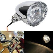 "5-3/4"" Chrome Tri-Bar H4 Motorcycle Headlight Visor Bucket For Harley & Chopper"