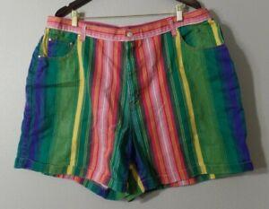 Vtg GITANO 80s 90s Rainbow Striped Mom Jeans Cuffed shorts Plus Size 26W 26 W