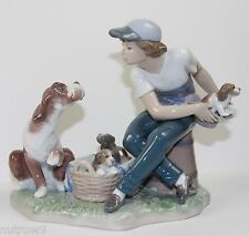 "LLADRO ""THIS ONE'S MINE"" #5376 FIGURINE ~ BOY W/DOG & PUPPIES ~ PERFECT!!! ~"