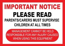 2 X Safety Notice Signs Bouncy Castle, Disco Dome, Slide, Soft Play, Funfare,