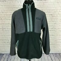Men's Columbia Black Gray Pullover 1/2 Zip Fleece Jacket Size Small