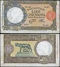50 Lire Lupa contrassegno BI 8/10/1943 Azzolini - Urbini quasi SPL