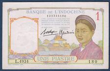 BILLET DE BANQUE D'INDOCHINE.UNE PIASTRE Pick n°54.b de 1932/1939 SUP L.4934 180