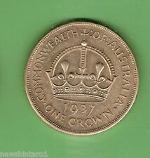 #D7.  AUSTRALIAN 1937 STERLING SILVER CROWN, FIVE SHILLING COIN