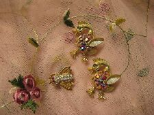 Vintage Scatter Pins Pair of Figural Ducks Lovely Stones and a Glittering Bee